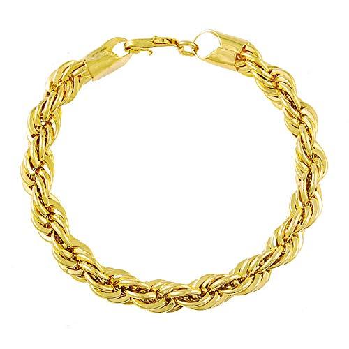 ShSnnwrl Estilo clásico Pulsera De Cadena Lateral Trenzada De 8 Mm con Relleno De Oro Amarillo De 24 K, Pulsera De Cadena Vintage para Hombres Y Mujeres, Joyería De Oro