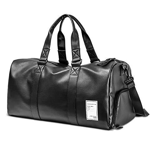 BAACD bolsa de viaje bolsa de viaje para hombres mujeres bolsa de equipaje negra bolsa de cuero de fin de semana impermeable bolsa de hombro liviana regalo de Navidad de cumpleaños para hombres-XL