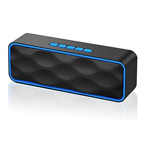 SMSOM Bluetooth Altavoz portátil inalámbrico, Volumen Ruidoso estéreo, Altavoz de Parejas Dobles con micrófono Incorporado de subwoofer al Aire Libre, Radio FM, 10H Tiempo de Juego
