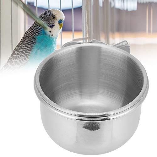 オウムのフードとウォーターカップ、防錆加工が簡単な鳥用ステンレス製給餌カップ、オウム用ディッシュフィーダー鳥(9cm)