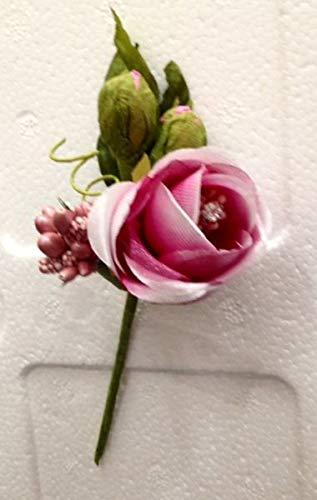 12 PZ Pick Rosa Rosellina FUXIA con brillantino decorazione FIORE BOMBON