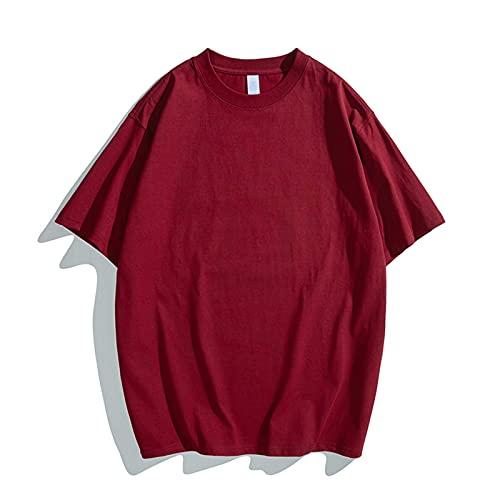 Uomo Manica Corta Sciolto Top Estate O-Collo Multicolore Solido Pesante Giornaliero T-Shirt Cam, vino, 3XL