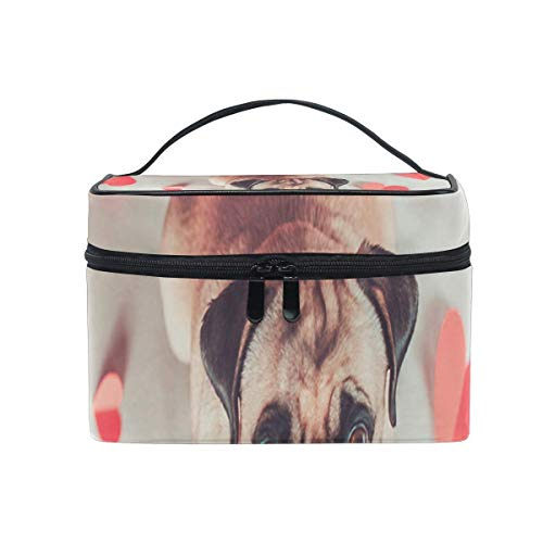 Trousse de maquillage Love Heart Pug Puppy Dog Cosmetic Bag Portable Large Toiletry Bag for Women/Girls Travel