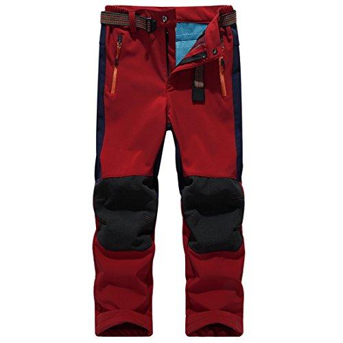 Sidiou Group Children Softshell Trousers Waterproof Windproof Fleece Lined Kids Trekking Trousers Climbing Pants Boys Girls Outdoor Sport Hiking Pants (XL 29