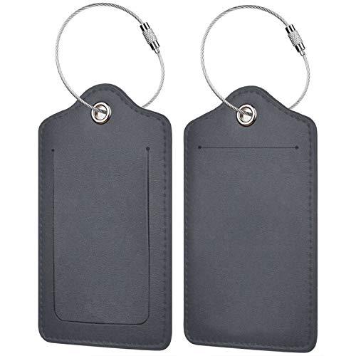 FULIYA Juego de 2 etiquetas de equipaje, de piel de alta gama, para maleta, para tarjetas de visita, para bolsa de identificación, textura, blanco, fibra, fondo, tela.