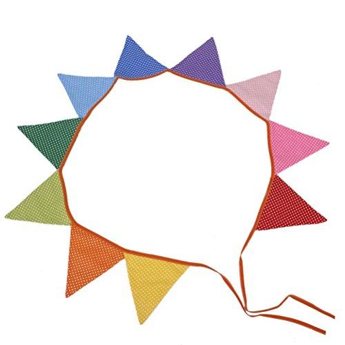 VORCOOL 10Stk Gepunktete Mehrfarben Wimpelgirlande Baumwolle Girlande für Dekoration