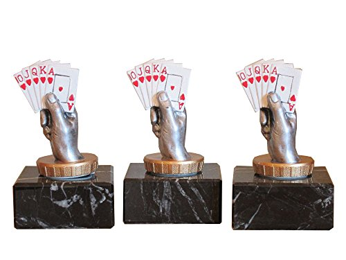 3er-Serie Poker-Pokale (R) auf Marmorsockel mit Wunschgravur