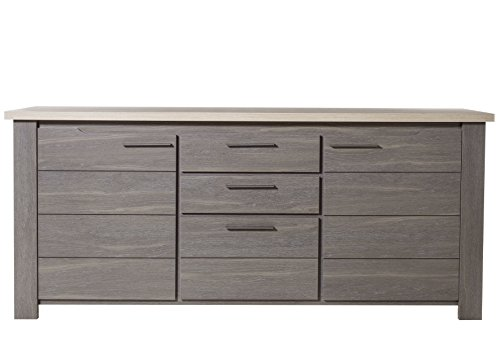 GAMI Buffet 2 Portes 3 tiroirs, Bois, 50 x 200 x 88 cm
