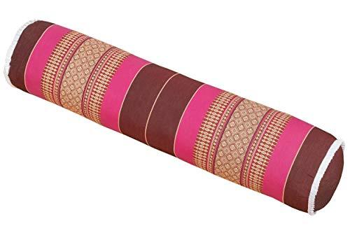 Handelsturm Thaikissen Rolle ca. 80x20 cm Kapok Yogarolle Kissenrolle für Massage oder Yoga Feste Nackenrolle Burgunder pink