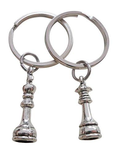 JewelryEveryday Schachfigur Anhängsel Schlüsselanhänger, König und Königin Set - Paare Schlüsselanhänger