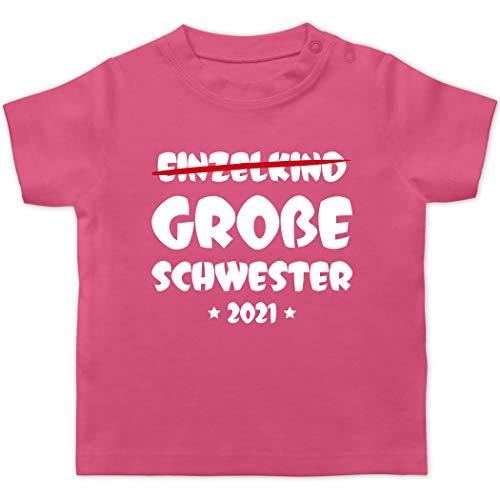 Geschwisterliebe Baby - Einzelkind Große Schwester 2021-18/24 Monate - Pink - t-Shirt Grosse Schwester 2020 - BZ02 - Baby T-Shirt Kurzarm