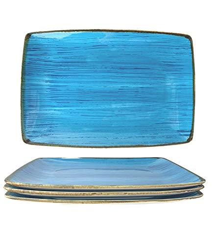 Platos Bandeja restangulares, Porcelana cerámica, 4 Piezas, 32 x 22 x 3 cm, Pintado a Mano, Estilo Vintage. (Azul)