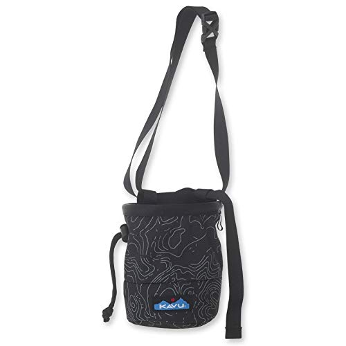 KAVU Peak Seeker Chalk Bag for Rock Climbing, Gymnastics, and Weightlifting-Black Topo