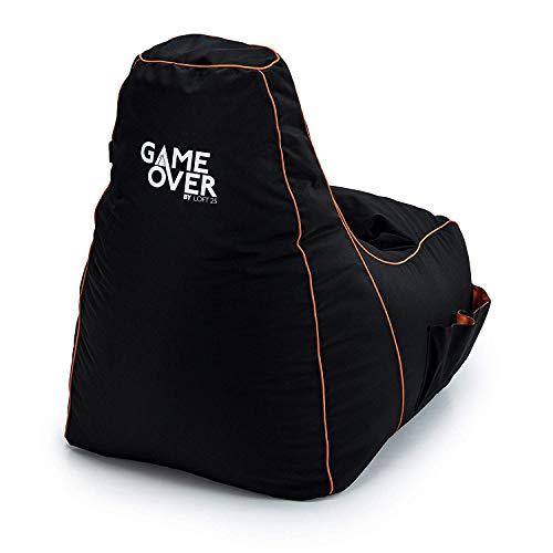 Game Over Portal Jump Puf para Videojugadores | Sala de Estar | Bolsillos Laterales para Controladores | Soporte para Auriculares | Diseño Ergonómico para el Videojugador Dedicado