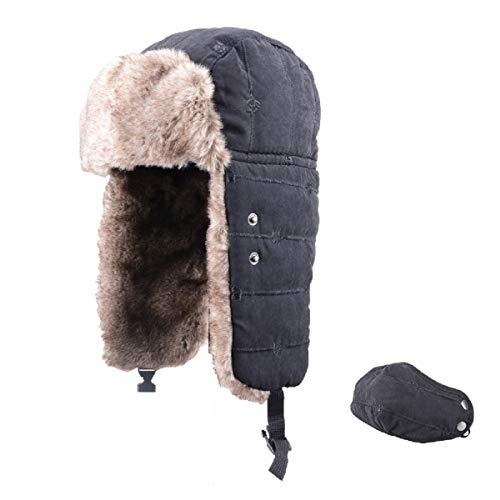 TRIWONDER Sombrero de Soldado de Esquí Térmico Invierno Gorros de Aviador Ruso Ushanka Gorras al Aire Libre