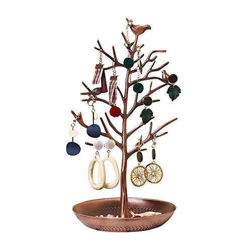 Estante de exhibición de joyería de metal retro estante de almacenamiento de pendientes estante de exhibición de rama femenina hogar creativo conjunto de 2 piezas de joyería,Gold2