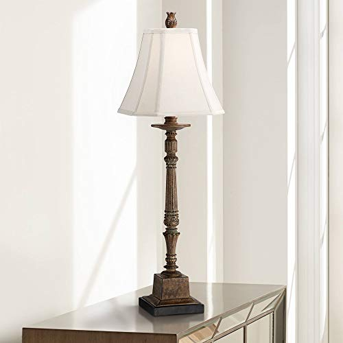 Thornewood Traditional Tall Console Table Lamp Crackled Brown Candlestick Square Bell Shade Decor for Living Room Bedroom House Bedside Nightstand Home Office Entryway Family - Regency Hill