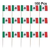 STOBOK 100 Stücke Mexiko Zahnstocher Flagge Kleine Mini Stick Flags Picks Party Dekoration Feier Cocktail Essen Bar Kuchen Fahnen