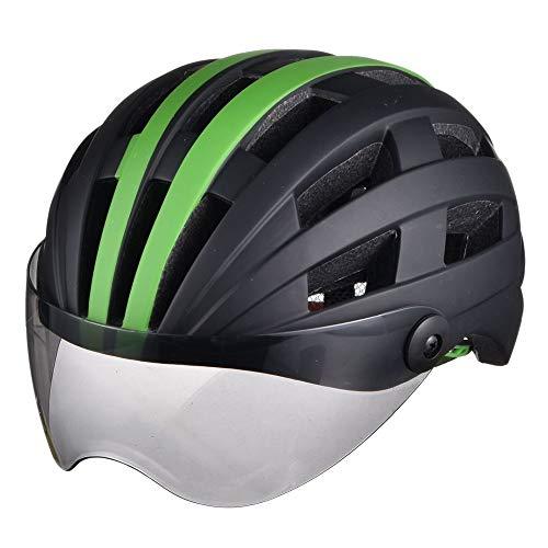 AJL Casco de Bicicleta de Ciclismo Negro y Verde con Gafas Pieza Moldeada de una Pieza Tecnología aerodinámica Gorra de Seguridad para Bicicleta Equipo de protección para Ciclismo de Carretera