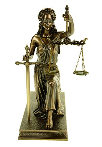 Vogler Justitia Diosa de la Justicia con espada direccional y báscula, figura de bronce rodilla