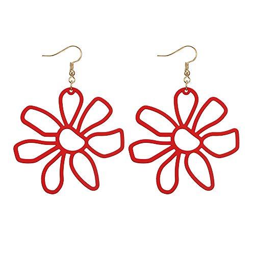 FAMILIZO Pendientes De Flores De PéTalos De AleacióN Multicolores Huecos De Moda Simple Y Fresca Para Mujer (Rojo # 2)