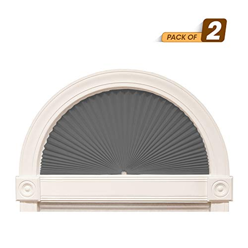 "Zipcase Arch Light Filtering Fabric Shade Pack of 2 fit for Perfect Half-Round Arch Windows No Tools Installation, Grey, 72"" x 36"""