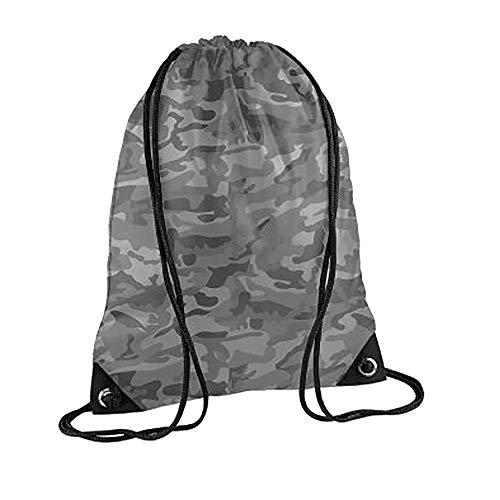 BagBase - Mochila saco o de cuerdas Impermeable/resistente al agua Modelo Premium Deporte/Gimnasio (11 litros) - 34 Colores (Paquete de 2) (Talla Única) (Camuflaje ártico)