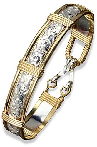 Handmade 14k Gold Filled and Sterling Silver Wire Wrapped Bracelet - Waves & Flowers Pattern - Gold Bracelets For Women - Made in Alaska