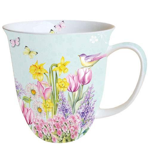 Ambiente Porzellan Becher Bone China, Mug, Tasse, Fuer Tee Oder Kaffee ca. 0,4L Blooming Garden Turquoise