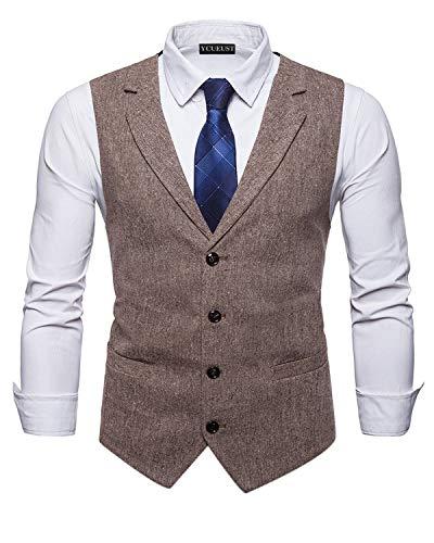YCUEUST Elegante Chaleco Hombre Casual Negocio Ceremonia Boda Slim Fit Traje Blazers Marrón x-Large