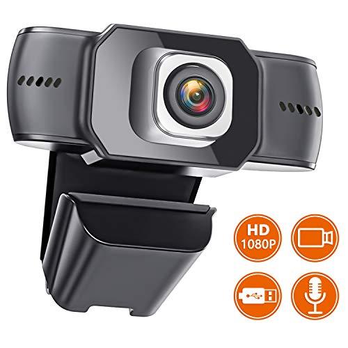 Igzyz Webcam 1080P con Micrófono, Computadora Webcam para Videollamadas para Youtube, Skype, MSN, Facebook, Google Hangouts, Web CAM de USB Plug and Play para PC/Mac/Laptop/Desktop