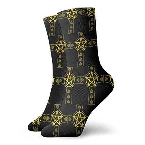JONINOT Pentagram Celtic Cross Calcetines de algodn informales deportivos esenciales para hombres Calcetines W8.5CM X L30CM