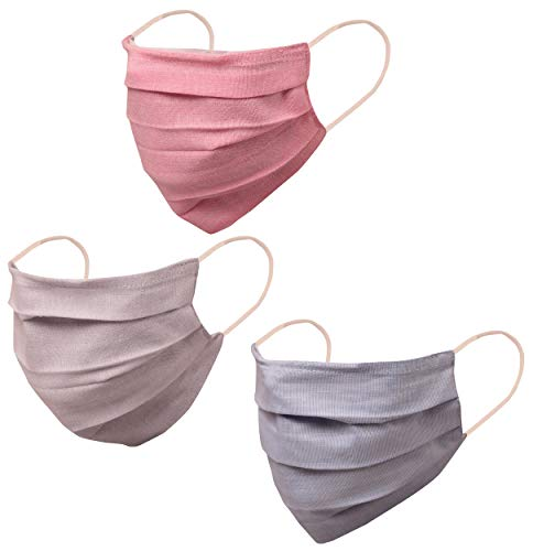 Filter pocket nose bridge denim look double layer cotton fabric face mask Reusable Machine Washable snug fit with elastic ear loops for men, women. (Pack of 3). Blue Pink Grey