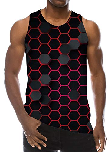 Goodstoworld Mens Tank Tops 3D Printed Cool Honeycomb Black Realistic Graphic Beach Shirts Junior Summer Club Tees Athletic Training Vest Large