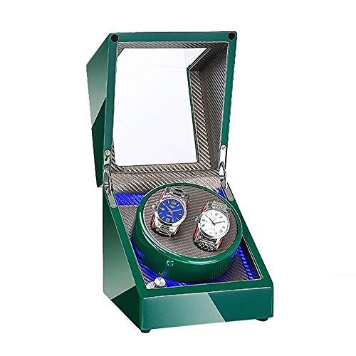 ZNND Caja Enrolladora Reloj Automática Doble Fuente Alimentación Dual Motor Silencioso Exterior Pintura Piano Verde para Hombre Mujer Relojes (Color : Gray)