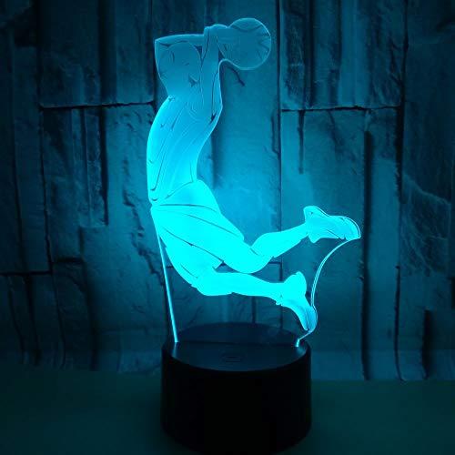 7 colores luminosos DIY luz 3D LED USB accesorios luz de noche Kobe mamba negra atleta baloncesto niños amante regalo de fiesta de cumpleaños