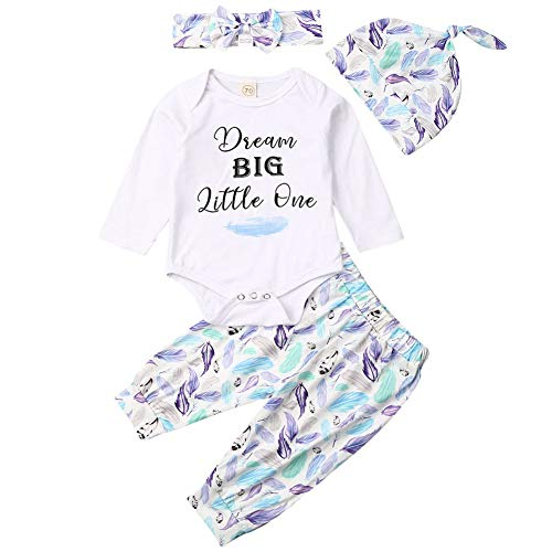 nvIEFE Baby Jongen Meisjes Print Lange Mouw Letters Romper+Veer Pant+Bunny Hoofdband+Hoed Winter Outfit Set