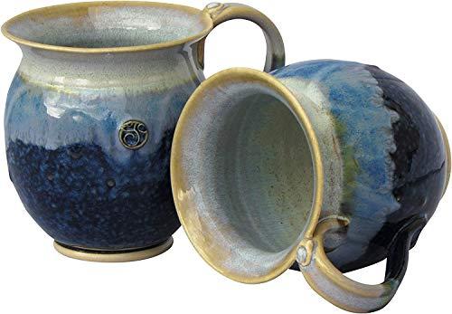 Handmade Irish Coffee & Tea Mugs. Set of Two Blue Hand-Thrown Cups 300ml