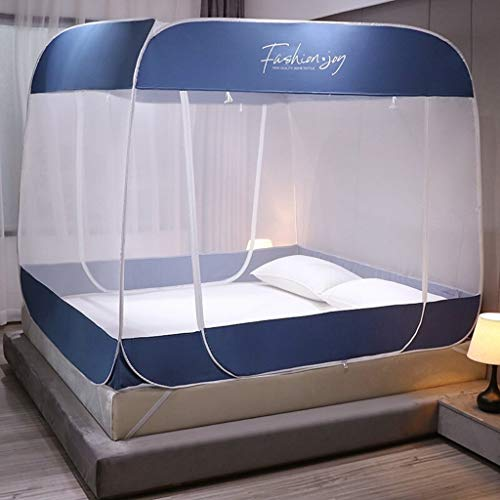 Best Review Of Pop Up Mosquito Net for Bed, Floorless Indoor Privacy Tent On Bed with Bottom, Foldin...