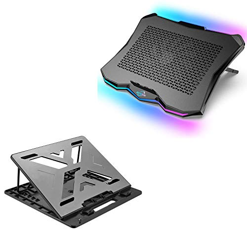 AICHESON AA3 1 Big Fan RGB Lights Laptop Cooling Cooler and X6-SLV Laptop Stand