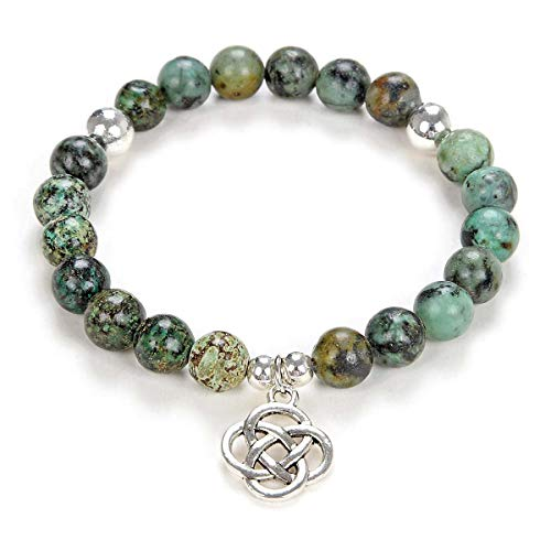 Yoga Beads Mala Bracelet Jewelry with Infinity Knot Celtic Charm for Men or Women (African Turquoise)
