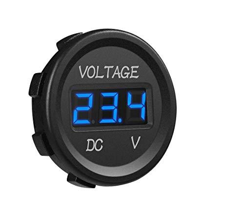 12V/24V Voltmeter LED Digitalanzeige DC Voltmeter Spannungsmesser mit Terminals für Auto Motorrad LKW Boot Marine(Blau)