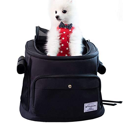 WinSun 猫 キャリー ペットキャリー バッグ リュック スタイリッシュ 犬キャリーバッグ 猫 バッグ 安定性抜群 犬リュック 猫リュック 通気性 旅行/通院/散歩/電車移動/避難用 犬/猫/ウサギ/小動物適用 ブラック 刺繍なし
