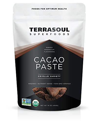 Terrasoul Superfoods Raw Organic Cacao Paste/Liquor, 1 Pound