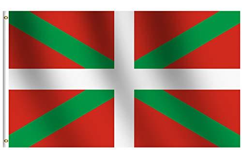 rhungift 90 x 150 cm große Baskische Flagge, Siebdruck, 100D dicke Polyester-Messing-Ösen, farbecht, Premium für Zuhause und Paraden, offizielle Party, Biscay Green St. Andrew 's Cross Flaggen
