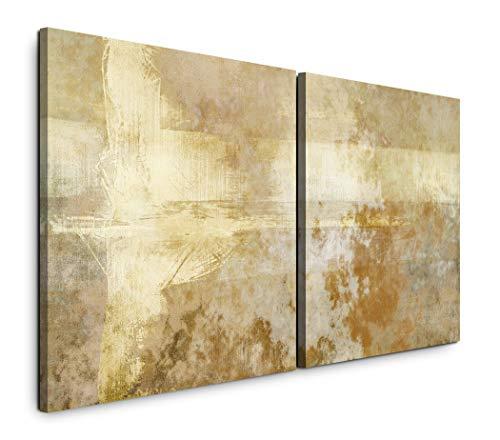 Paul Sinus Art GmbH Abstrakt 120x60cm - 2 Wandbilder je 60x60cm Kunstdruck modern Wandbilder XXL Wanddekoration Design Wand Bild