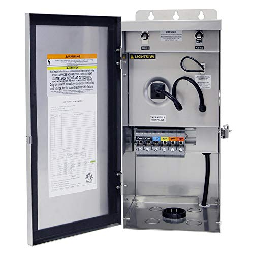 Lightkiwi U8810 600 Watt Heavy-Duty Stainless Steel (12V-13V-14V-15V) Multi-Tap Low Voltage Transformer for Landscape Lighting
