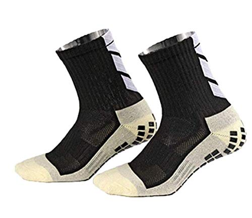 rutschfeste Fußball Socken Stutzenstrümpfe Kompression Basketballsocken/Yoga Socken Noppen Sohle Damen & Herren Socken Anti Rutsch Socken Stoppersocken Noppensocken knielänge (Black, OneSize)