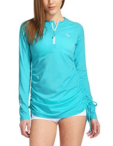 BALEAF Women's Long Sleeve Half-Zip Sun Protection Rashguard Side Adjustable Swim Shirt Blue Size L