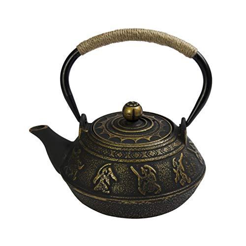 HANHAN Tetera grande de hierro fundido estilo japonés, juego de té con infusor de 800 ml/0,8 l (bronce)